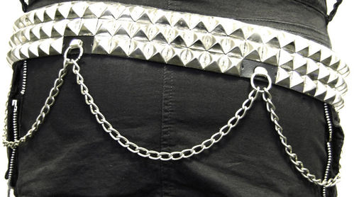 3-row studded-leather belt with chains