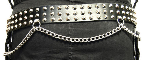 3-row studded-leather belt with chains (spitz)